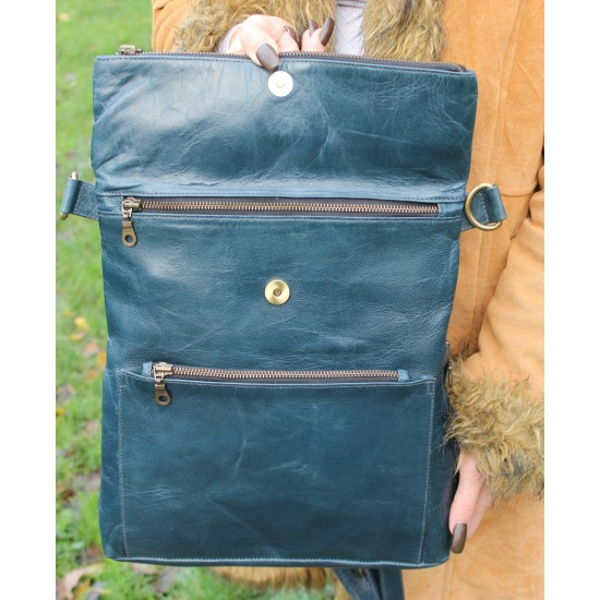 Amelie Backpack Convertible Blue Leather