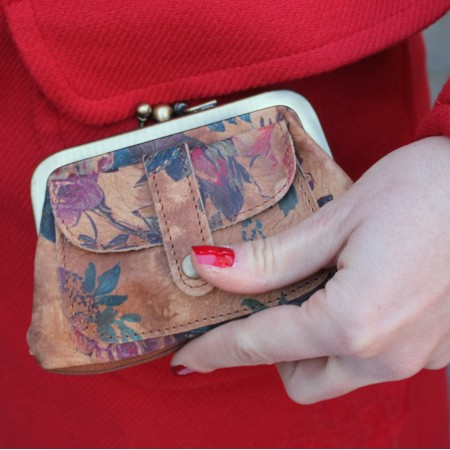Amy Kissclip Clasp Purse Floralprint no 14 Leather