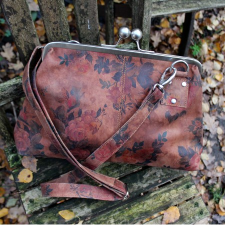 Dark Floral Print Leather Kisslock Crossbody Handbag