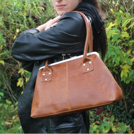 Doris Tan Leather Clip Bag