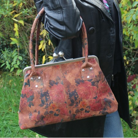Doris Dark Floral Print Clip Bag Leather