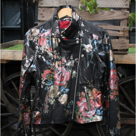 Biker Jacket Japanese Floral Print Leather