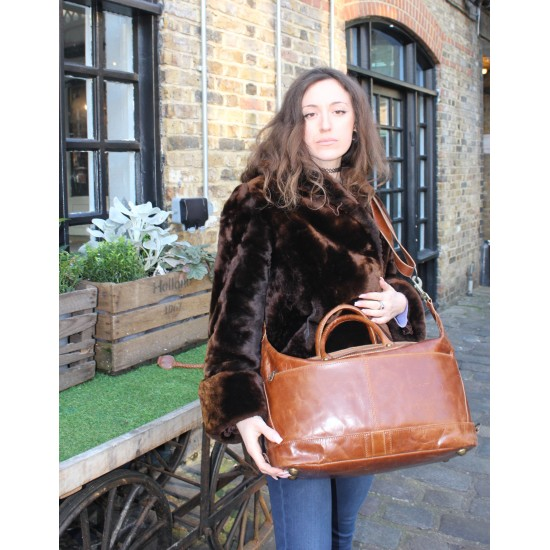 Gertrude Large Tan Leather Holdall