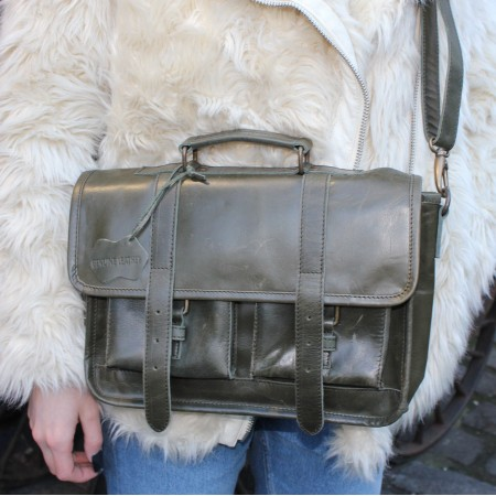 Karine Medium Olive Satchel Leather