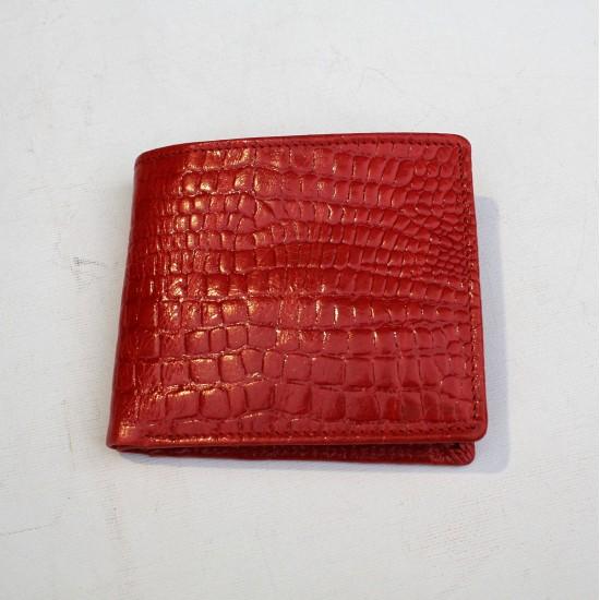 Alberta Red Crocodile Print Leather Wallet