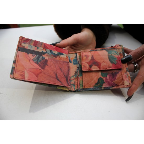 Alberta Floral French Pink Garden Leather Wallet Leather