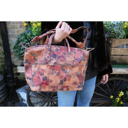 Gertrude Small Floral Print Leather Holdall