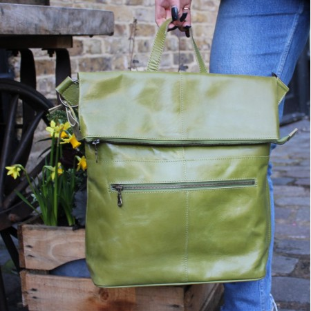 Belgian Zip Convertible Apple Green Leather