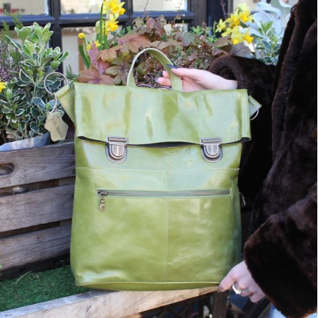 Belgian Clip Convertible Backpack Applegreen Leather