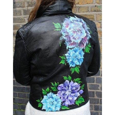 Biker Jacket Leather Hand-painted Purple Flowers
