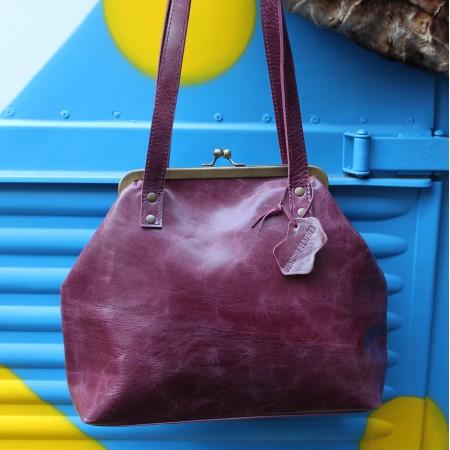 Maya Medium Clipframe Bag Purple Leather