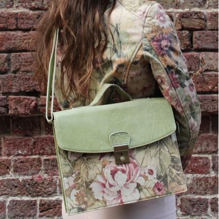 American Funky Bag Apple with Floral Print Leather
