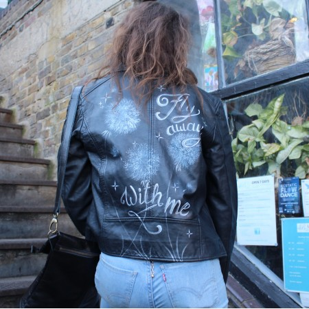 Biker Jacket - Fly away with me, Dandelion handpainted
