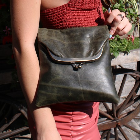 Dublin clip mini bag Olive Green Leather