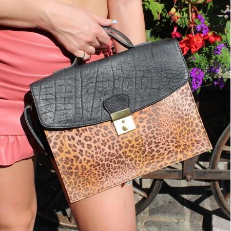 American Funky Mini Satchel Black & Leopardprint