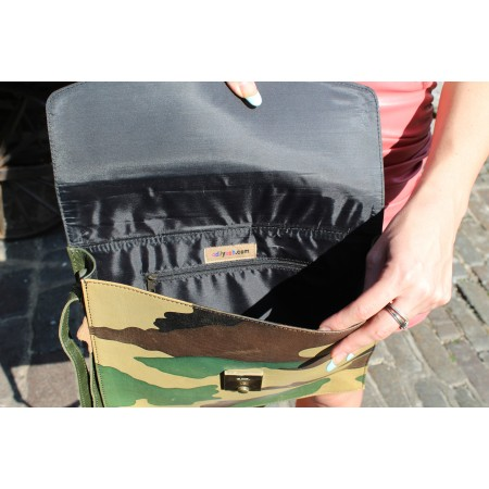 American Funky Bag Dark Green & Camouflage Mini Satchel Leather