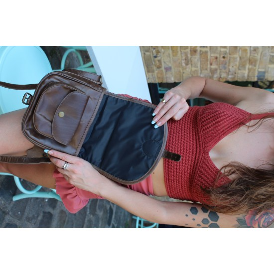 Amelie Convertible Backpack Navy Leather