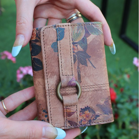 Small Ring Wallet in Floral Print Leather