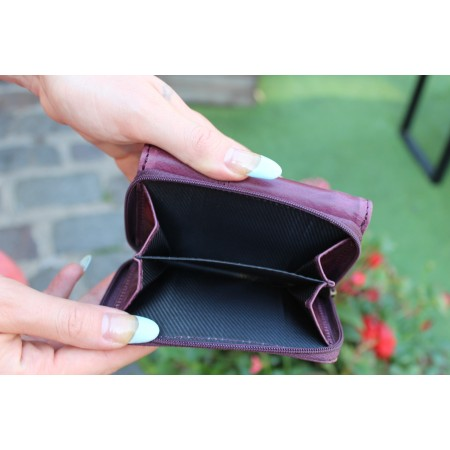 Small Ring Wallet in Purple Leather