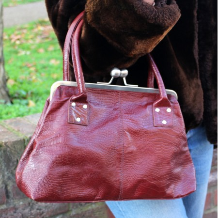Doris Red Crocodile Print Clip Bag