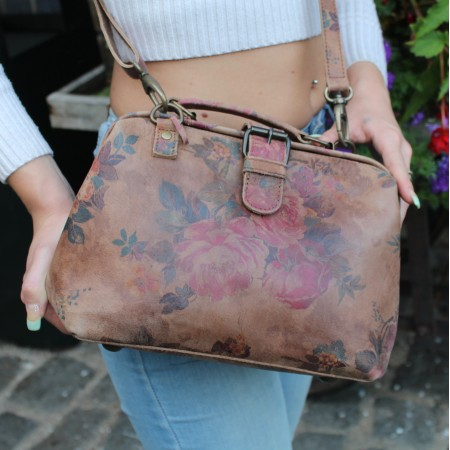 Doctor Bag Small Dark Floral Print Leather
