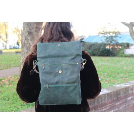 Amelie Convertible Backpack Aquamarine Leather