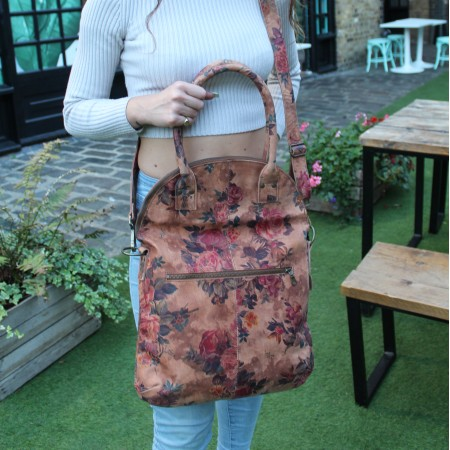 Floral Print Leather Foldover Crossbody Bag