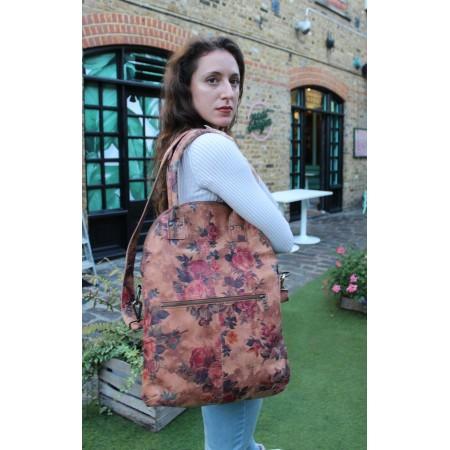 Floral Print Leather Foldover Crossbody Bag