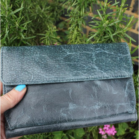 Travel Wallet Navy Leather