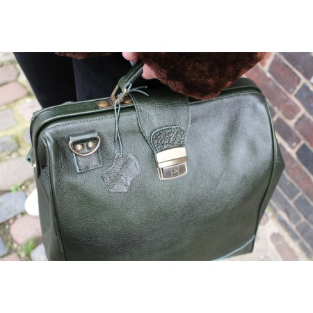 Doctor Large Convertible Rucksack Dark Green Shiny Leather