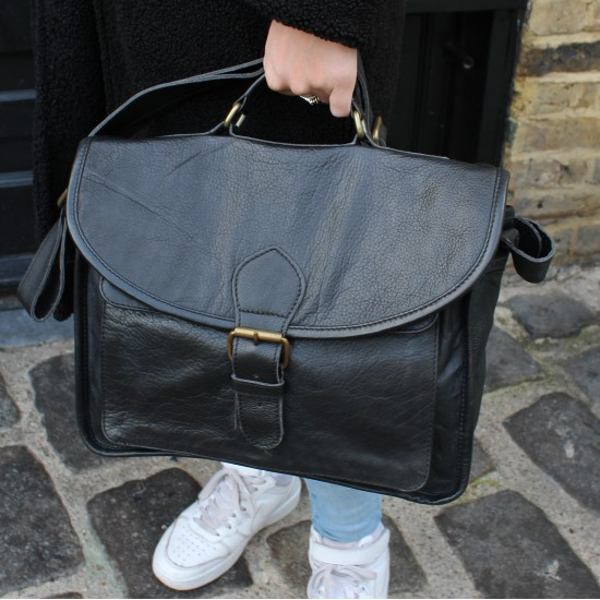Satchel Single Buckle Black Leather