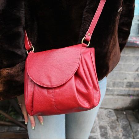 Chantal Drawstring Crossbody Leather Bag Red