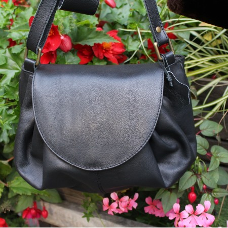 Chantal Drawstring Bag Black Leather