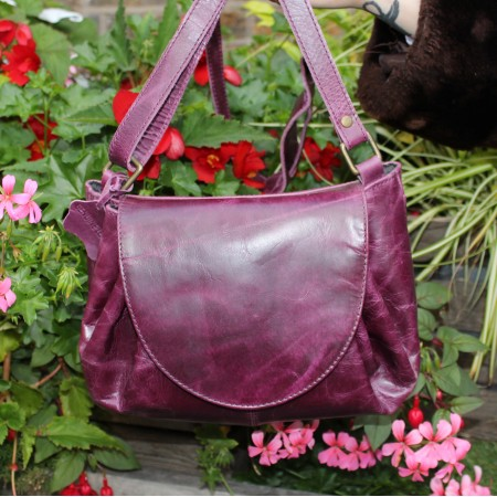 Chantal Drawstring Crossbody Purple Leather Bag