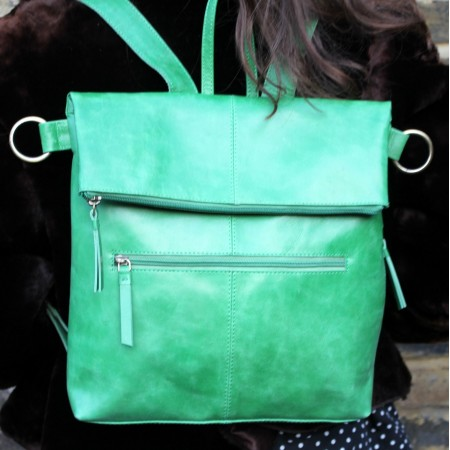 Amelie Convertible Backpack Irish Green Leather