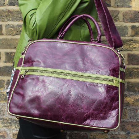 Jackie Tote Sports Purple & Green Leather