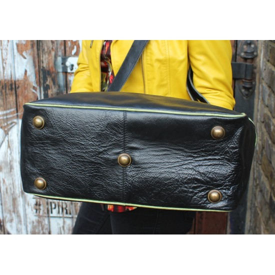 Jackie Tote Black Leather With Apple Green Trim