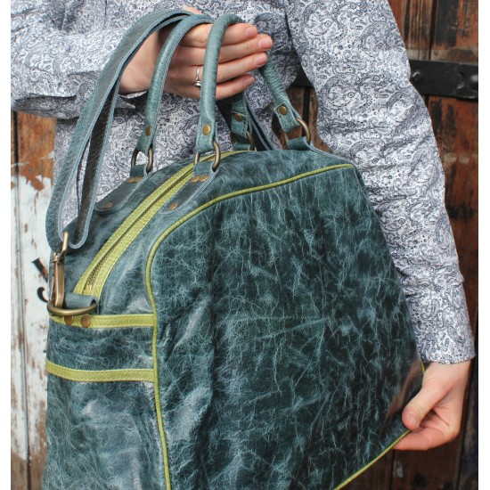 Jackie Tote Navy Leather With Apple Green Trim