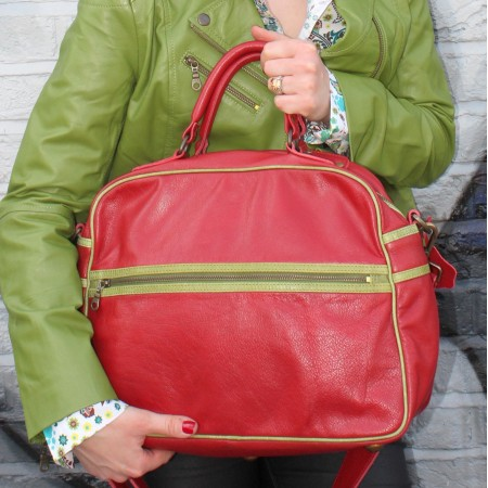 Jackie Totebag Red Leather With Apple Green Leather