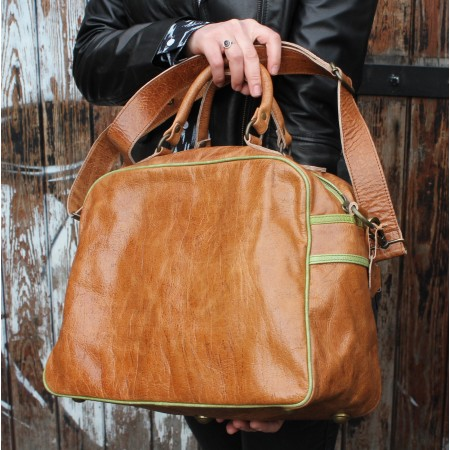Jackie Tote Tan Leather & Green