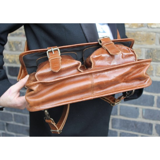 Karine Medium Tan Smooth Satchel Leather