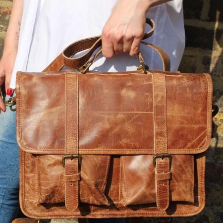 Liverpool Satchel Tan Scrunchy Leather Bag