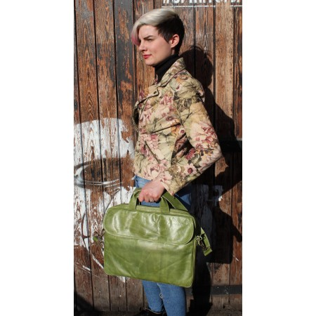 Berlin Laptop Bag Briefcase Apple Green Leather