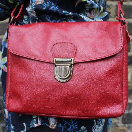 Louisa Red Messenger Bag