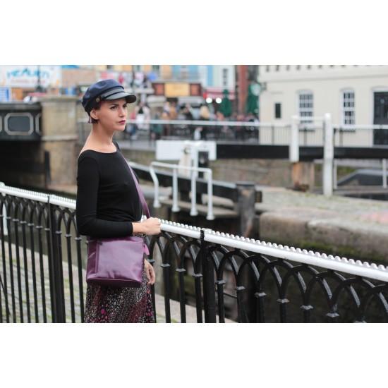 Marina Slanted Crossbody Purple Leather Bag