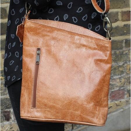 Marina Crossbody Tan Scrunchy Leather Bag
