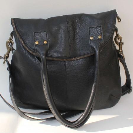 Michele Foldover Black Leather
