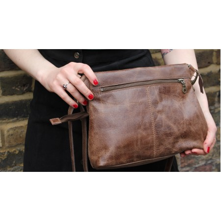 Mini Amelie Flapover in Distressed Dark Brown Leather