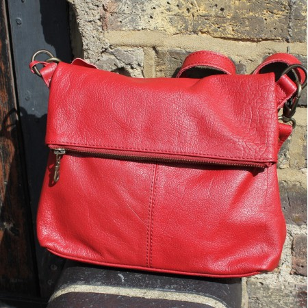 MIni Amelie Small Red Crossbody Flapover Leather Bag