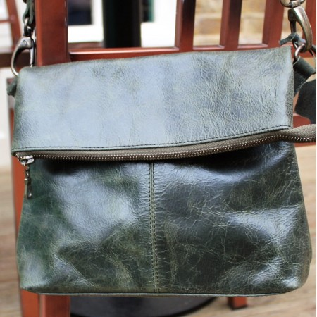 Mini Amelie Flapover in Olive Green Leather